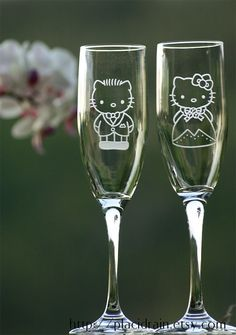 Hello Kitty and Dear Daniel Champagne Glass set