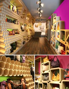 What makes cardboard an even more interesting and visually arresting choice for eco-friendly shops? Contrasting its colorless uniformity with bright neon colors and luxe bamboo flooring. Designer Francesca Signori improvised the interior of this eBarrito shop in Cremona, Italy using cardboard tubes and pressed cardboard sheets.