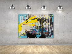 "New: WEST | 60""x89""x1.5"" by Los Angeles based contemporary artist Laura Letchinger. #graffitioncanvas #street #graffiti #urban #abstract #contemporaryabstract #oversized #interiordesign #design #industrial #wallart #painting #contemporaryart #large #art #contemporary  #gritty #loft #modern #yellow #bright #contemporaryart  Website: http://www.lauraletchingerart.com/available-work-gallery"