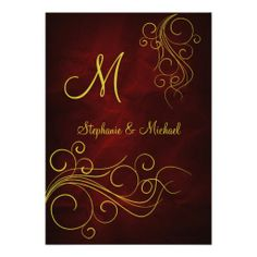 Elegant Red Gold Monogram Wedding Invitation by Sand Creek Ventures