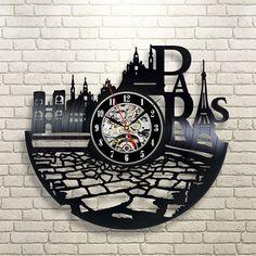 Paris City France Handmade Vinyl Record Wall Clock Modern Gift Idea For Her Vinyl Record Crafts, Vinyl Record Clock, Record Wall, Vinyl Records, Clock Art, Diy Clock, Wall Clock Brands, Wall Clocks, Vynil