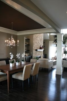 Love the dark ceiling in the dining room. Modern Spaces Candice Olson Bathroom Lighting Design, Pictures, Remodel, Decor and Ideas Küchen Design, Design Case, House Design, Design Ideas, Dining Room Design, Dining Area, Dining Rooms, Dining Table, Dining Chairs