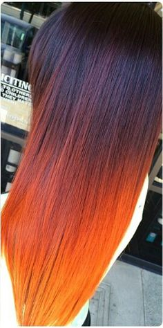Orange dyed ombre hair
