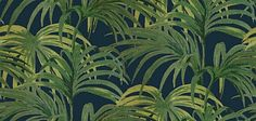 Palmeral Midnight/Green (H403-4) - House Of Hackney Wallpapers - An explosion of 70's inspired Palm leaves, creates this stunning design. Shown in the green on dark midnight colourway. Please ignore dimensions below – the actual dimensions of this stunning digital wallpaper are: W180cm x H 300cm. The single roll comprises of 4 x 3m lengths, each 45cm wide. Wall coverage per roll is 5.4 m2 Paste the wall product.