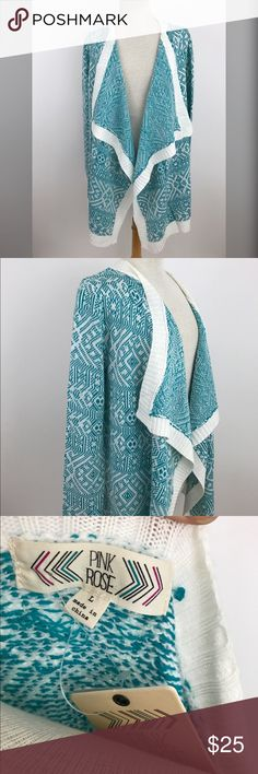 NWT Teal & White Waterfall Open Cardigan ***AVAILABLE FOR A LIMITED TIME ONLY**  Long sleeve, warm and cozy. Size large, measurements to come !  #sizelarge #pinkrose #rachelboncek Sweaters Cardigans