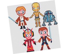 "This is a fan art parody of famous characters for the purpose of ...Fun:)  ☆☆☆ OBI-WAN KENOBI, PADME AMIDALA, ANAKIN SKYWALKER, C-3PO and R2-D2 In the STAR MOVIE collection :)   Size:13.07""x4.29"" (33.20cm x10.89cm) Canvas: AIDA 14 ct  This PDF file is perfect even for BEGINNERS and has:  ★ Instructions ★ No backstitches, only cross stitches! ★ The image is of such a high quality that you can print, instead of stitching it!! ★Color blocks with symbols chart, center marks and rows numbered…"