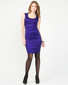 Taffeta Scoop Neck Shift Dress - Show off your curves in a timeless taffeta scoop-neck shift dress. Hosiery, New Dress, Curves, Scoop Neck, Tights, Formal, My Style, Clothes, Dresses