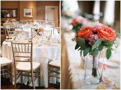 Elegant Navy, Grey and Coral Garden Wedding -- glass jars for bridal party's bouquets