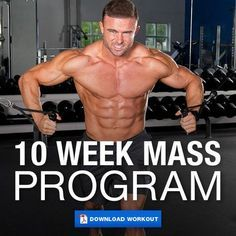 (Click through to download PDF!) This workout is designed to increase your muscle mass as much as possible in 10 weeks. Works each muscle group hard once per week using mostly heavy compound exercises.