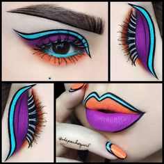 Super cool and creative pop art makeup and nails by depechegurl. Very bright ❤️