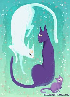 The beloved cats of Sailor Moon star in this mint-and-violet composition! I love Luna, Artemis, and Diana because theyre more than mascots, they