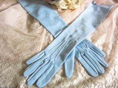 Vintage elbow length gloves, pale blue gloves, vintage wedding gloves, long length gloves, blue gloves, bridal gloves, long prom gloves by thevintagemagpie01 on Etsy 1940s Looks, Blue Gloves, Vintage Gloves, Wedding Gloves, Prom, Bridal, Magpie, Fabric, Etsy