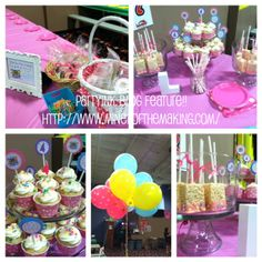 Bounce House party blog feature with cupcake toppers, sign, and personalized stickers by partyINK.