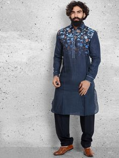 Shop Plain navy cotton pathani suit online from G3fashion India. Brand - G3, Product code - G3-MPS0428, Price - 5895, Color - Navy, Fabric - Cotton,