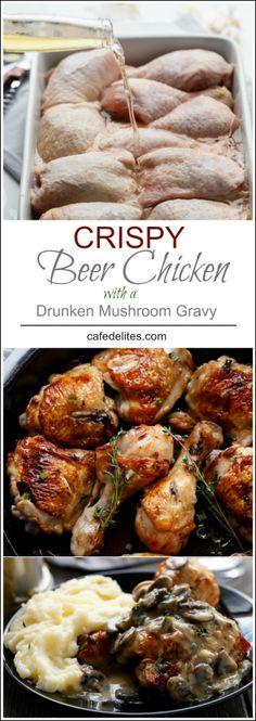 Crispy Beer Chicken with Drunken Creamy Mushroom Gravy   http://cafedelites.com