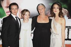 LR Actors James McAvoy Saoirse Ronan Vanessa Redgrave and Keira Knightley attend the UK Premiere of Atonement at The Odeon Leicester Square September...