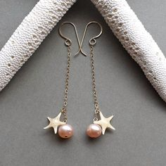 Long Pink Pearl Earrings Real Starfish Dangle by BellaAnelaJewelry