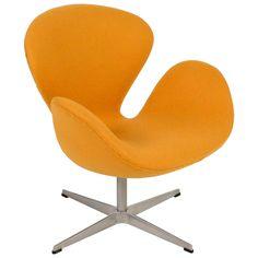 Yellow Swan Chair Jacobsen on Swivel Base