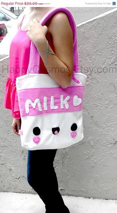 Milk Tote Bag Cute Schoolbag Kawaii Backpack by HappyCosmos, $21.25