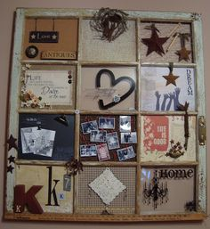 How to make a recycled window collage old window photo collage, or anything you want it to be. maybe use a bunch of dollar store frames put together? Old Window Panes, Wooden Window Frames, Window Art, Window Ideas, Window Picture, Picture Frame, Old Window Crafts, Old Window Projects, Diy Projects