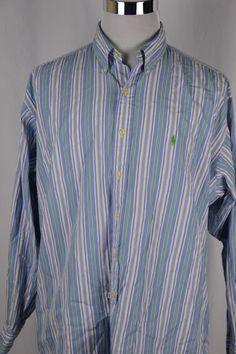 Ralph Lauren Mens XL Blake Fit Blue Green Striped Long Sleeve Button Down Shirt Green Stripes, Blue Green, Broken Zipper, Collar Styles, Mens Xl, Business Casual, Work Wear, Button Down Shirt, Ralph Lauren