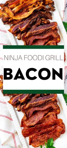 For perfect bacon with barely any work, make this Ninja Foodi Grill Bacon! Whether you want to cook pork, beef, or turkey bacon, air-fried bacon is ridiculously easy to make and perfectly crispy. Beef Bacon, Bacon On The Grill, Cooking Bacon, Turkey Bacon, Gluten Free Crepes, Gluten Free Recipes For Breakfast, Free Breakfast, Easy Healthy Recipes