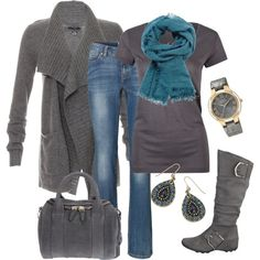 Grays with Pops of Teal, created by smores1165 on Polyvore