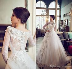 Wholesale Long Sleeve - Buy Lace Long Sleeves 2014 Beautiful Wedding Dresses With Bateau Applique Ball Gown Tulle Bridal Gowns Floor Length Custom Made EM01972, $148.64 | DHgate