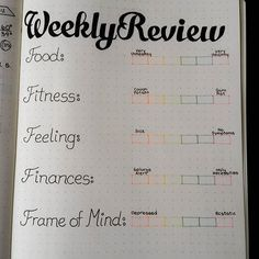 New weekly review. Fill in the box where you evaluate yourself for the week. Enter individual feedback in bullet points underneath each category #bulletjournal #bulletjournaljunkies #planner #weeklyreview