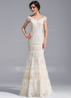 Trumpet/Mermaid Off-the-Shoulder Sweep Train Zipper Up Covered Button Regular Straps Sleeveless Church General Plus No Spring Summer Fall Other Colors Lace Wedding Dress