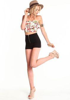 Zip Me Up High Waist Shorts, BLACK, large