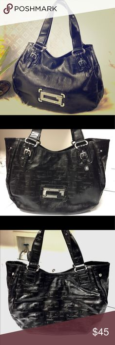 GUESS ™ Large Tote Bag Authentic GUESS brand in black pvc and hot pink satin ef0d84298146f