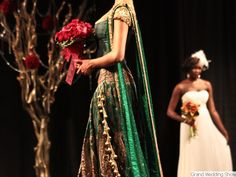 One of my most favorite bridal Indian  lenghas featured at the annual GrandWeddingShow.com in Vancouver. I love the how regal the emerald green looks and how there is a variation of fabric and texture balanced with antique / vintage style embroidery. The red bouquet adds just enough contrast. Perfect outfit for the engagement or reception and for those who are looking to get away from the traditional red tones. Gown by CrossoverBollywood Se.