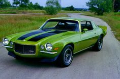 1970 Green with Black Hood Strips Camaro Z28