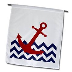 Red Nautical Boat Anchor on Chevron Pattern Garden Flag, 12 by Garden Flags, Anchor, Chevron, Nautical, Boat, Sign, Amazon, Pattern, Red