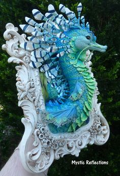 Shorr the Sea Dragon – ooak Polymer clay Framed Sculpture – Hobbies paining body for kids and adult Polymer Clay Art, Handmade Polymer Clay, Fantasy Creatures, Sea Creatures, Biscuit, Dragons, Coral, Sea Dragon, Shattered Glass
