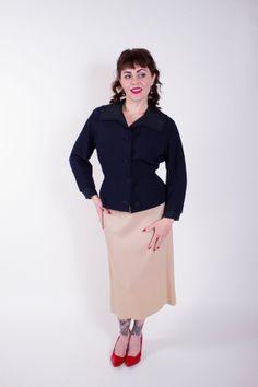 1950s Vintage Jacket Navy Blue Wool Jersey by stutterinmama, $58.00
