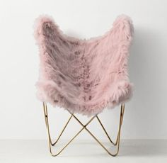 RH TEEN's Tye Kashmir Faux Fur Butterfly Chair - Light Aged Brass:Inspired by the 1930s iconic original, our interpretation features a comfortable sling seat, sculptural frame and removable slipcover in sumptuous Kashmir faux fur.