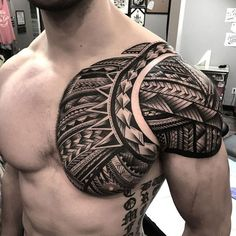 Tribal Tattoos For Men: With Meanings & Healty Tips Tribal Chest Tattoos, Cool Chest Tattoos, Tribal Shoulder Tattoos, Tribal Tattoos For Men, Tattoos For Women, Tattoos For Guys, Chest Tattoo Cover Up, Back Tattoo Men, Maori Tattoo Arm
