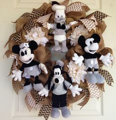 Burlap Disney Wreath with Chevron Ribbon by SparkleForYourCastle, $189.00