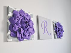 This listing is for 3 Wall Canvases Hangings in Lavender and Gray. You can choose your letter, letter color, flower style, flower color and canvas prints of your color and choice. Many To Choose From! We will match any Decor! ALL ITEMS ARE MADE TO ORDER PLEASE SEE SHOP FOR CURRENT CREATION TIME!!!  Large Lavender Dahlia Flowers on White and Gray Polka Dot Canvases 12 x12 Wall Art Hanging. ***Matching and Coordinating Pillows Available Please see Shop: www.bedbuggs.etsy.com***  Stunning Touch…