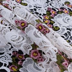 White Floral Embroidered Guipure Lace Fabric by the Yard   Mood Fabrics