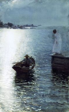 Sommervergnügen 1886, Anders Zorn (1860-1920). While his early works were often brilliant, luminous watercolors, by 1887 he had switched firmly to oils. Zorn painted portraits, scenes depicting rustic life and customs. Zorn is also famous for his realistic depictions of water.
