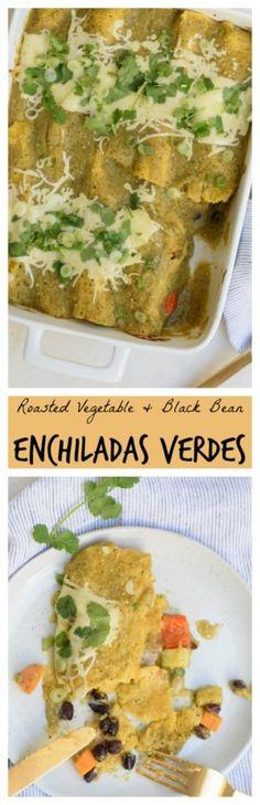 Roasted Vegetable and Black Bean Enchiladas Verdes | Pamela Salzman