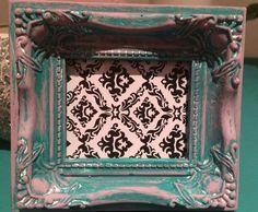 Annie Sloane chalk paint mini frame by SamGalerArtPortraits..Florence base scandinavian pink surface