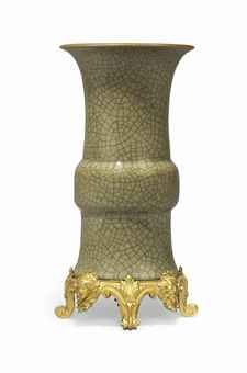 A FRENCH ORMOLU-MOUNTED GLAZE-CRACKLE CELADON VASE