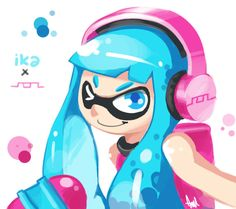 Blue and Pink Squid