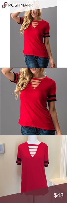 NWT Gameday Top Red and Black Hey Georgia, Louisville, Cincinnati, Texas Tech and all others cheering for the Red & Black...we didn't forget you! Want to be comfortable but stylish? This top is for you! Fabric is dressier than a regular t-shirt but oh so soft and comfy. Cutout neckline scores even more interest! I have other colors listed separately. Made in the USA 🇺🇸 Sweet Claire Tops