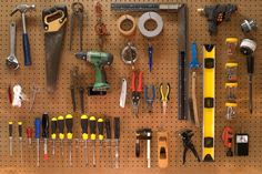 A classic DIY workbench of tools [ 1200 x 800]...