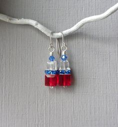 Fourth of July Earrings Red White and Blue Earrings by APerfectGem $17.00  #4thofJuly #holidayearrings #red,whiteandblue #swarovskiearrings